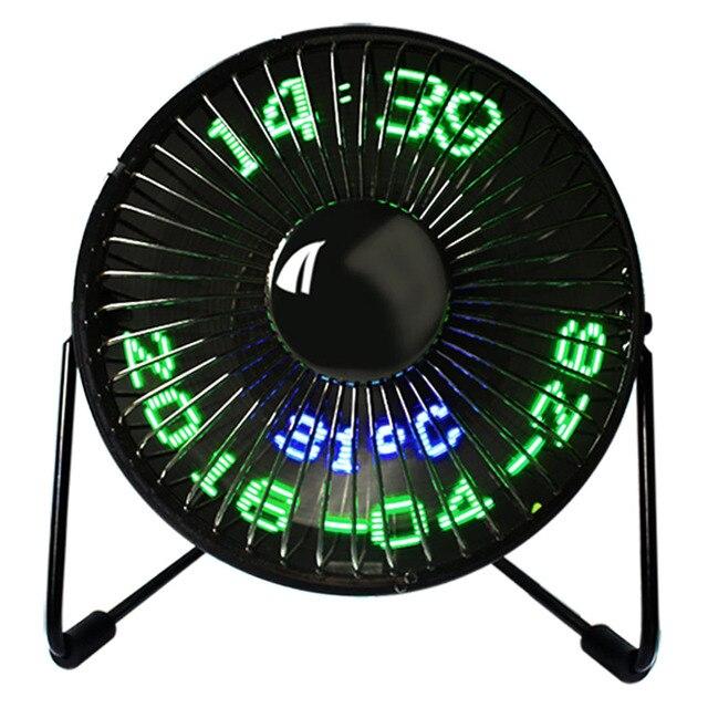 Творческий горячие USB светодиодный часы мини вентилятор с реального времени Температура Дисплей Desktop 360 вентиляторы для Офис HY99 AU09