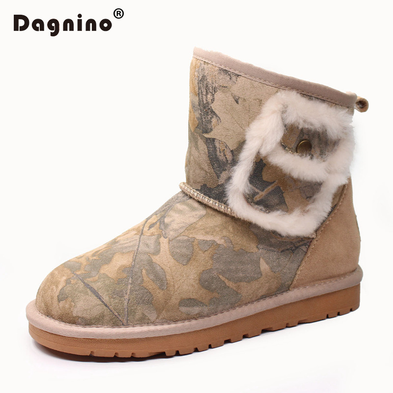 DAGNINO Fashion Quality Genuine Cowhide Leather Snow Boots Real Fur Classic Mujer Botas Waterproof Winter Ankle Shoes For Women aiweiyi womens high quality genuine leather real fur 100