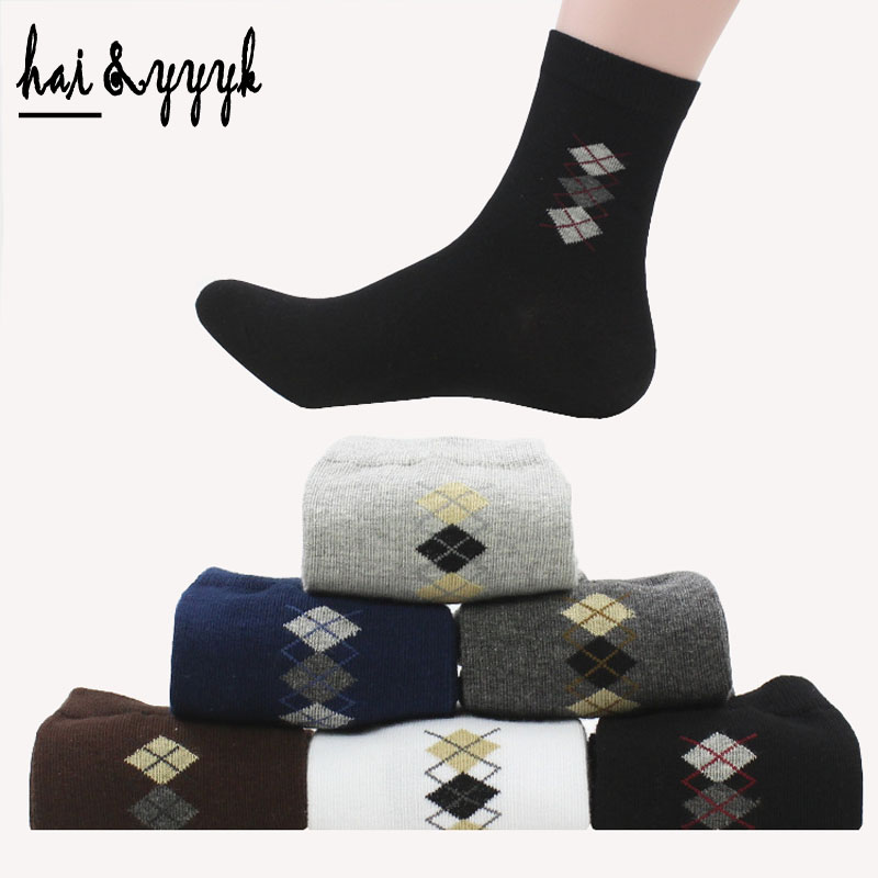 6 Colors High quality Mens Cotton Socks Small Diamond Classic Business Brand Mens Socks Men Sheer Dress Socks 6pairs / lot