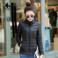 WomensDate 2016 de Alta Qualidade Mulheres de Inverno 90% de Pato Branco Para Baixo jaqueta Casaco Curto Fino Plus Size Duck Down Jaquetas Pretas Parka