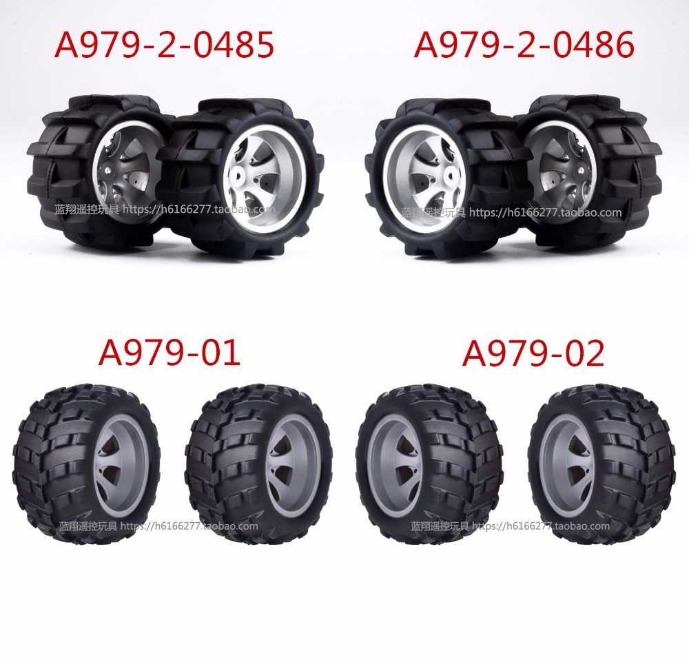2pcs 1//18 Car Spare Parts Right Tire Tyre for 1:18 Wltoys A979 A979-B A979-A