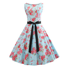 Vintage Sleeveless O Neck Printed Bow Swing Dress