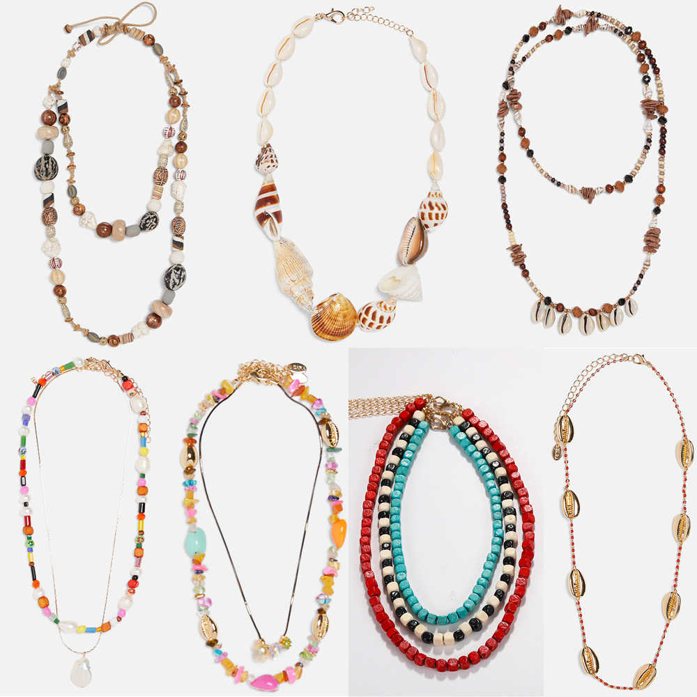 Miwens New Za Design Shell Chokers Necklaces For Women Fashion Summer Beach Seashell Statement Necklaces Vintage Maxi Jewelry