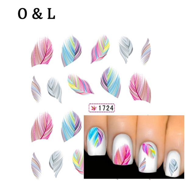 Hot 1pcs Beautiful Colorful Feather Water Transfer Nail Art Decal