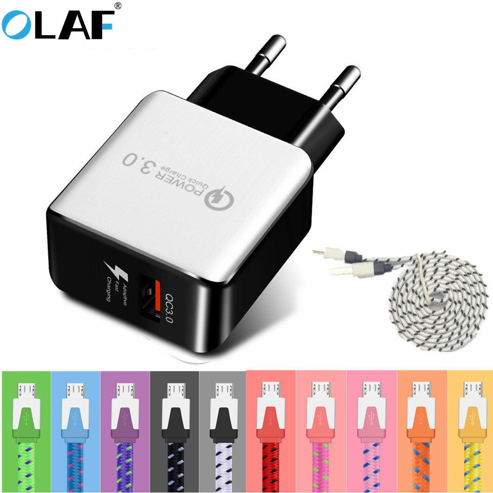 Olaf Quick Charge 3.0 USB Charger Micro USB Cable for Samsung Xiaomi Huawei Fast Charger USB Travel Adapter for iPhone 7 8 Plus