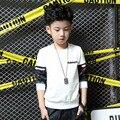 Blanco negro impreso de manga larga de moda 2017 primavera otoño niño ropa de los cabritos tops tee camisetas para niños de cumpleaños niños ropa