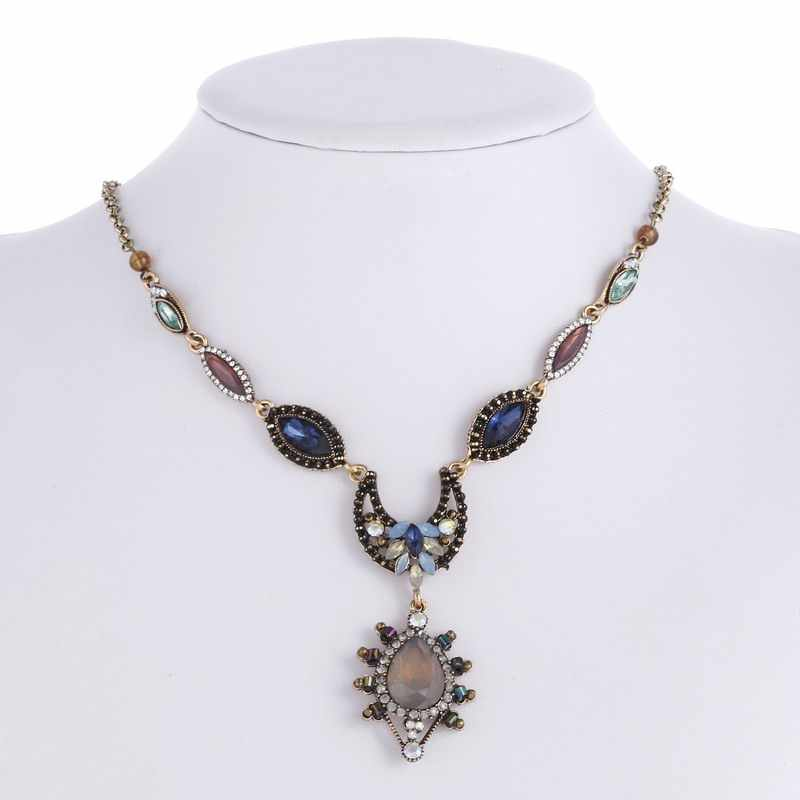 Fine Jewelry Long Colorful Maxi Crystal Necklace for Women Vintage Gold Statement  Necklaces   Pendants Indian 95637dffe1a6