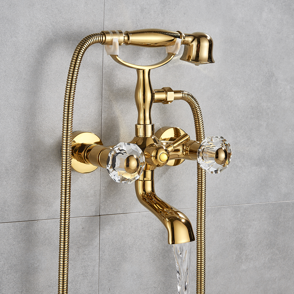 Luxury Golden Polish Bathtub Faucet Mixer Tap Telephone Style With Sprayer Hand Shower Rotate Spout tub