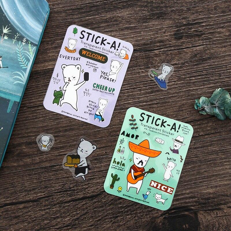 1Pcs Cute Mini Cartoon Kawaii Bear Stick-A Notes Sticky Notes Post It Memo Pad Stationery School Supplies Planner Stickers E2170