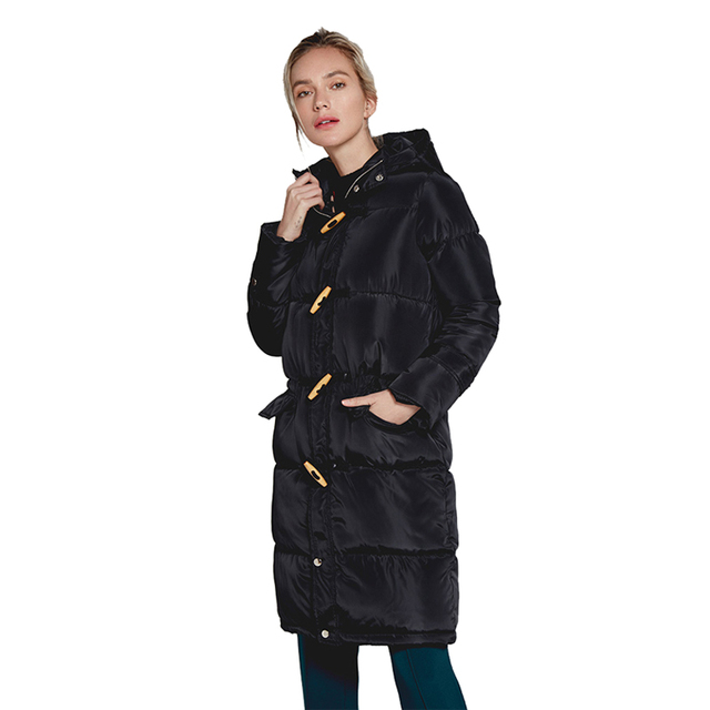 96c3a5f9457 New Female Winter Hooded Long Coats For Women 2018 Horn Buckle Parka