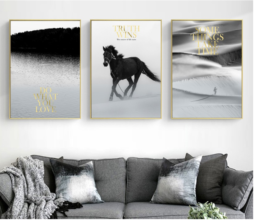 Modern Black and White Landscape Modular Print Picture Wall Art Canvas Paintings Decoration for Living Room No Framed
