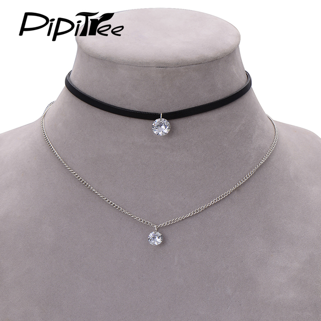 Trendy Leather Crystal Necklace