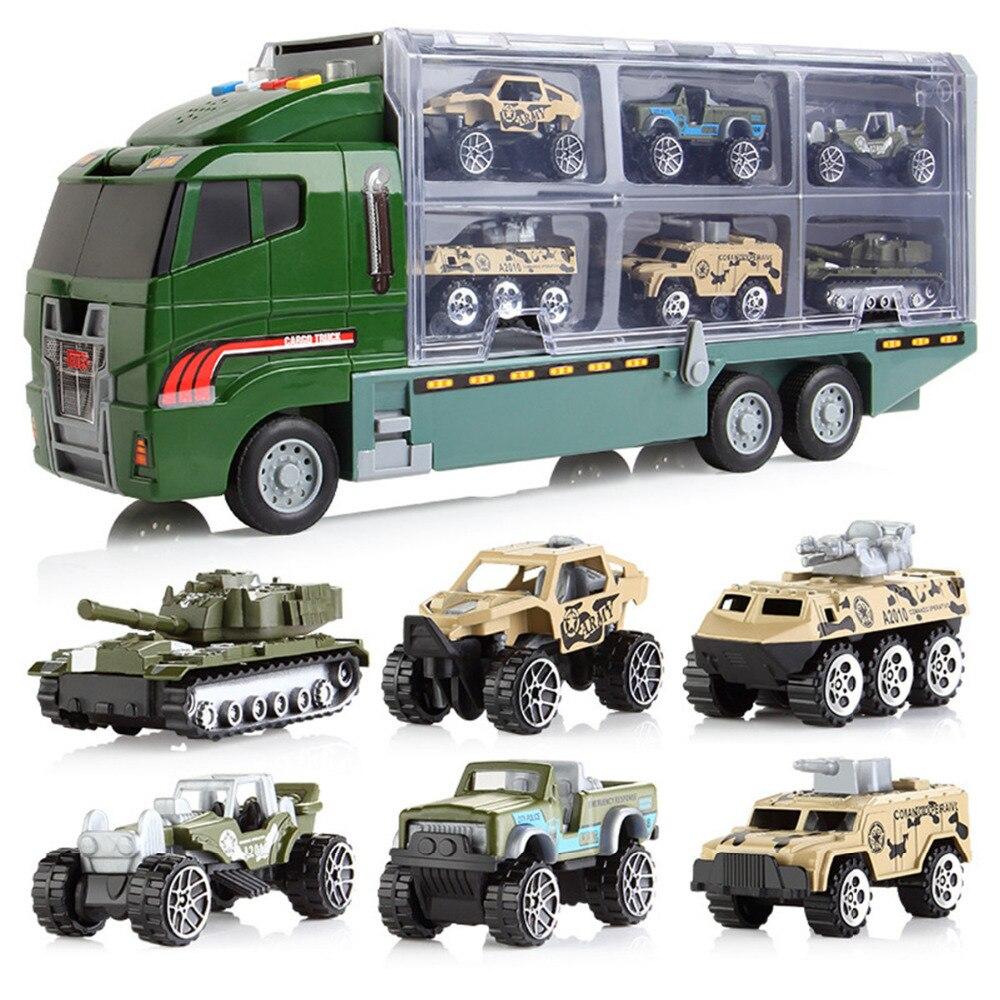 Véhicules jouets voiture jouets 1x camion + 6 pcs petites voitures alliage Moule en plastique Diecas Mini Pull Back Garçon cadeau alliage de voiture Enfants Jouet Classique