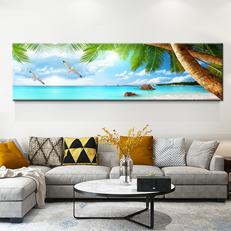 Home Decor Canvas HD Prints Poster Living Room Framework Sunset Beach Coconut Tree Seascape Paintings Wall Art Pictures