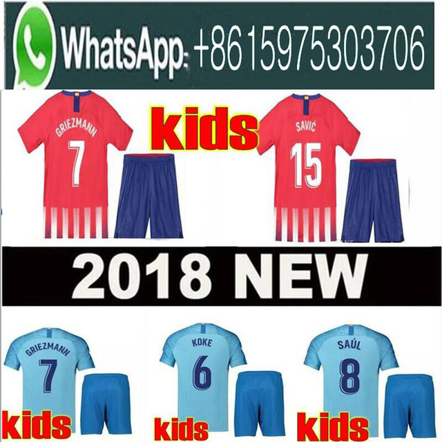 a900af756 Optimum quality 2018 2019 Atletico Madrides kids kit+sock soccer Jerseys  camisetas shirt survetement child Football shirt