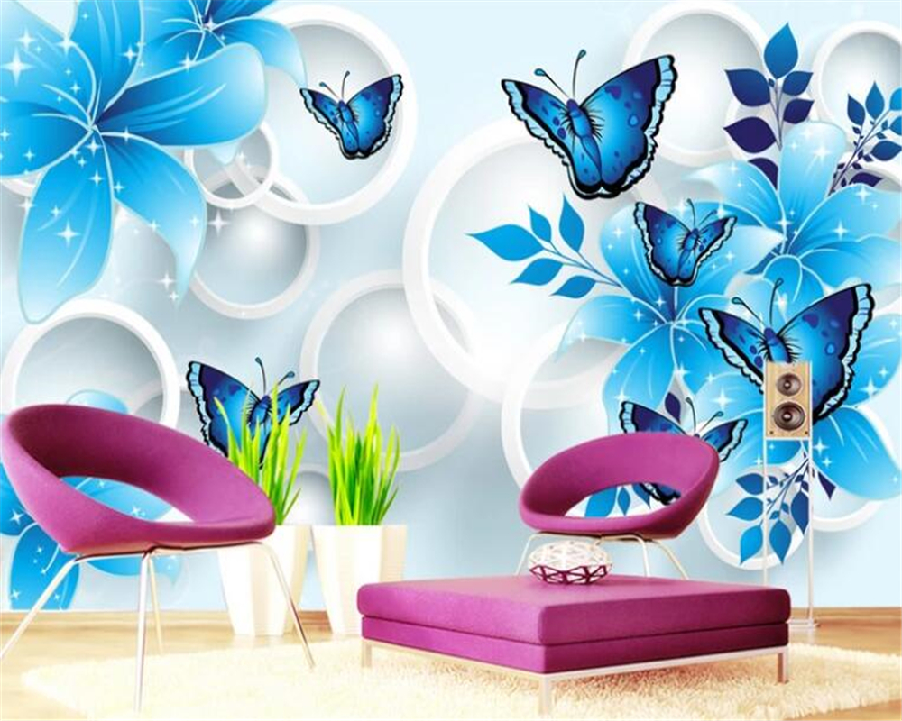 Beibehang Custom wall papers home decor papel de parede Blue floral butterfly Living room sofa background wall 3d wallpaper in Wallpapers from Home Improvement