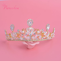 Free Shipping New Clear Crystal Baroque Retro Luxury Delicate Women Alloy Pearl Tiara And Crown Bridal