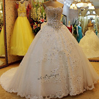 Rhinestones Luxury Wedding Dresses Royal Vestidos de Noiva Plus Size Lace Bride Dress 2018 Bow Ball Gown Wedding Gowns Gothic