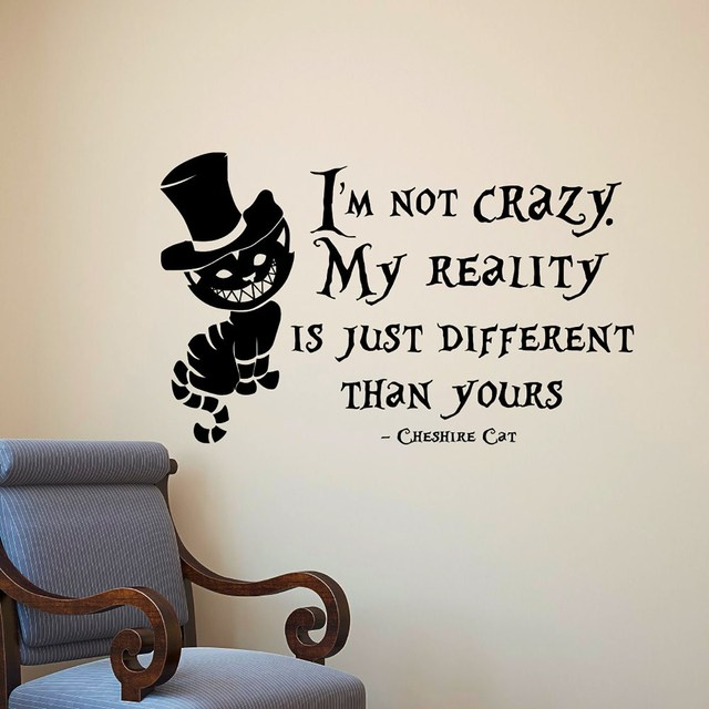 PVC Removable Alice In Wonderland Cheshire Cat Wall Stickers Vinyl Art Wall  Decals Quoting Mural Home