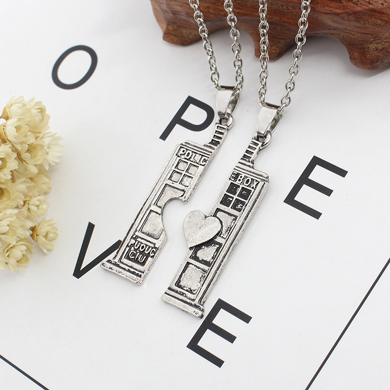 Fashion Hot Film Doctor Who TARDIS Phone Booth Pendant Necklace Unisex Retro Doc Who Heartrs House House Necklaces And Pendants in Pendant Necklaces from Jewelry Accessories