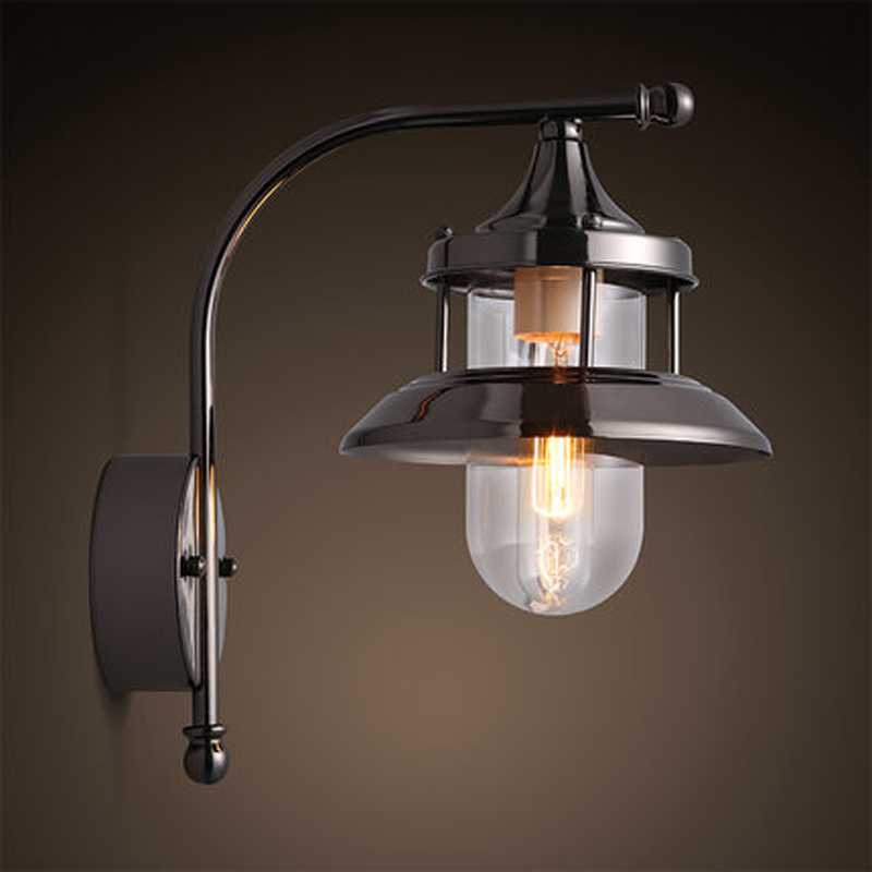 American country style wrought iron glass lighting retro living room wall lamp bedroom hallway Edison wall lamp
