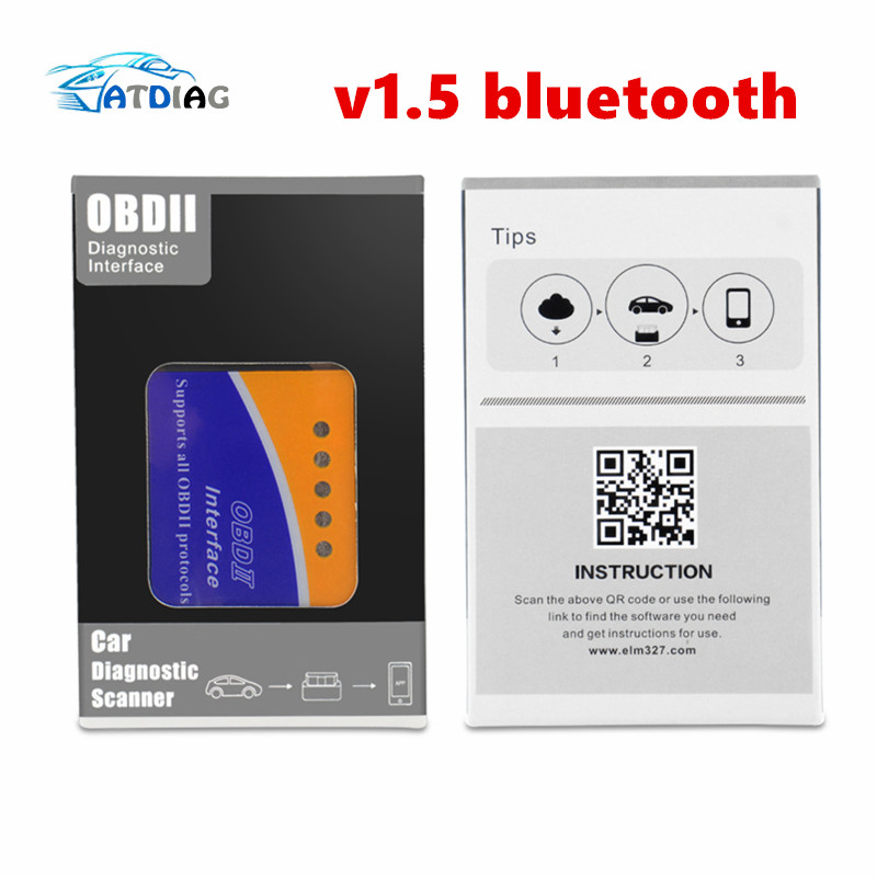 New OBDII ELM327 V1.5 Bluetooth PIC18F25K80 Chip Works Diesel Cars Hardware V1.5 Software V2.1 For Android/PC ELM 327 V1.5 جهاز تعديل عداد الكيلو متر
