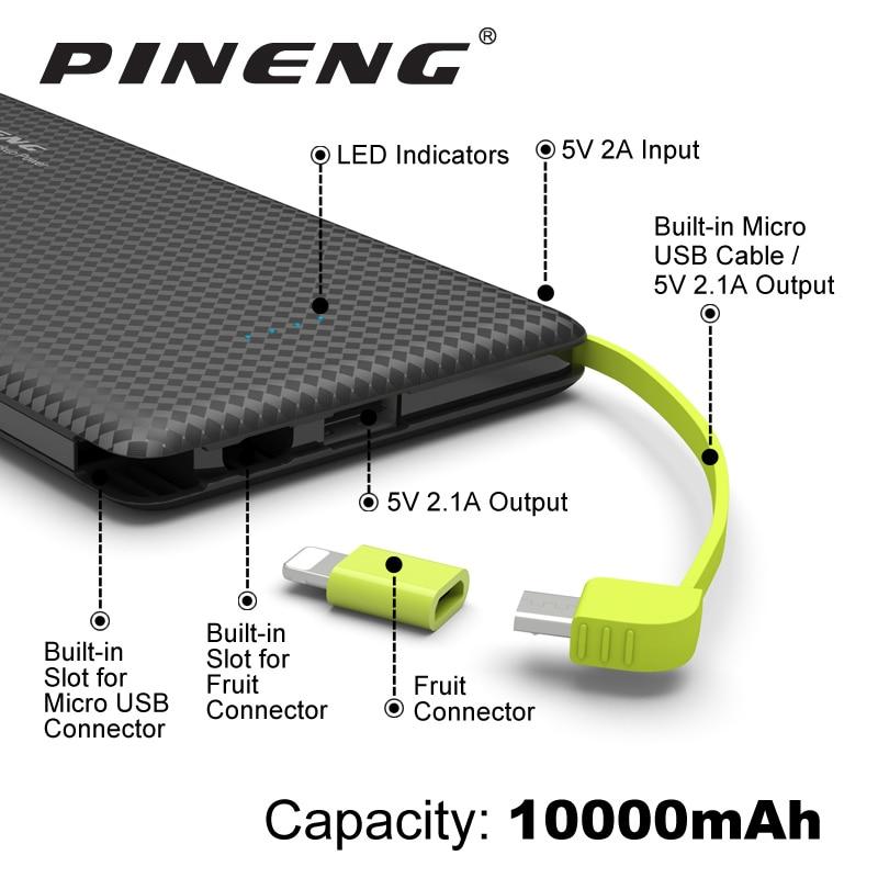 imágenes para Pineng Banco de la Energía 10000 mAh Batería Externa Portátil Móvil Cargador Rápido de Doble USB para el iphone 5 6 s 7 Plus Samsung LG HTC Xiaomi
