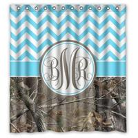 Chevron and Camo Monogrammed Custom Shower Curtain Pattern Waterproof Fabric Shower Curtain For Bathroom 66*72inch
