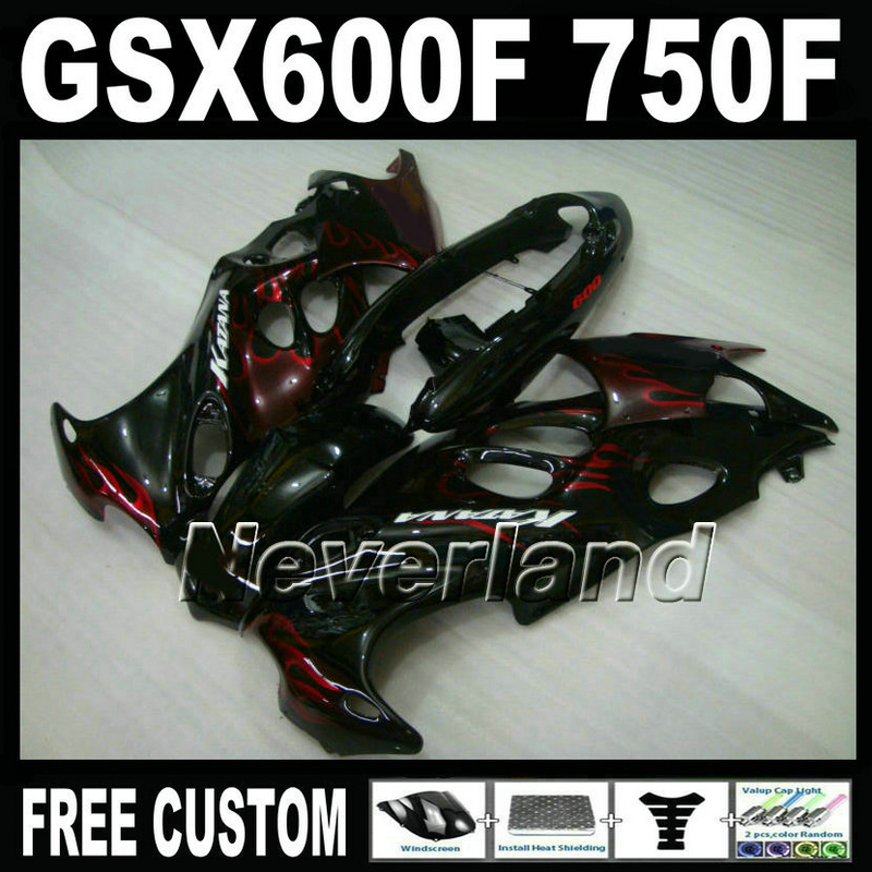 Bodywork hot sale fairing kit for Suzuki GSX 600F 750F 95 96 97-05 red flames black fairings set GSX600F 1995 1996-2005 LM38 high quality plastic fairing kit for suzuki gsx 600f 750f 95 96 97 05 blue black fairings set gsx600f 1995 1996 2005 lm19