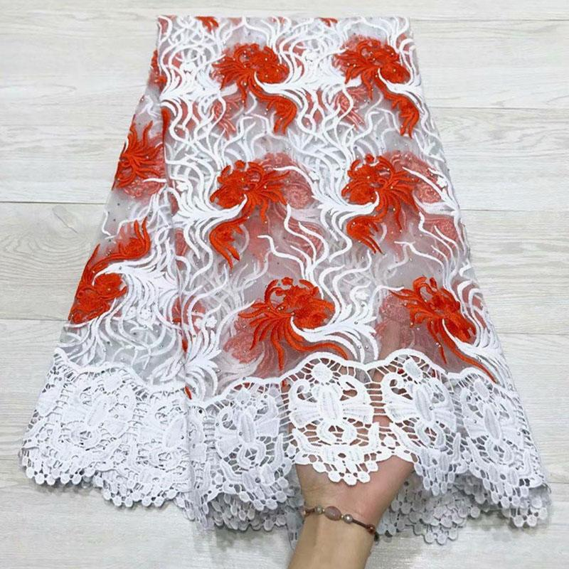 Red Embroidered Nigerian French Lace Fabric High quality With stones African French Net Lace Fabric For