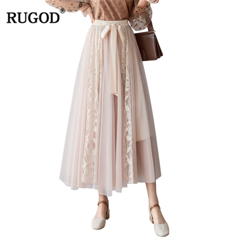 c655408c6 RUGOD 2019 Primavera Verano plisado Maxi Falda Mujer moda encaje malla  cintura elástica señora ...