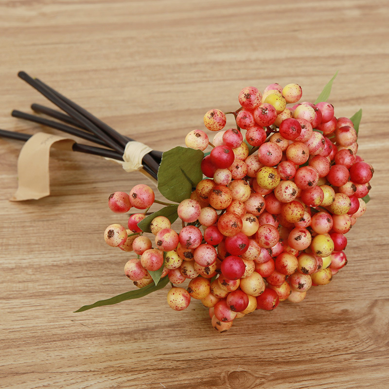 Zinmol Artificial Berry Plants 5 Branches Berry Artificial Flowers Wedding Decoration Home Garden Decor 4 Colors