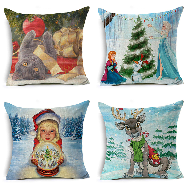 Nordic Christmas Deer Pillow Cover Santa Claus Letter Cushion Cover Cat Decorative Throw Pillow Case Sofa Home Decor almofadas