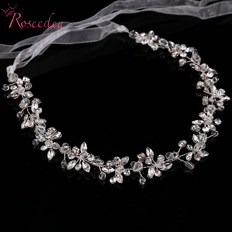 Shinny crystal bridal wedding Head Piece Bride Headwear Headband Hair Band 100% Handmade women Party Jewelry Accessories pure handmade bride wedding hair accessory head piece 2 piece set hanfu costume xiu he fu wedding use hair jewelry page 5
