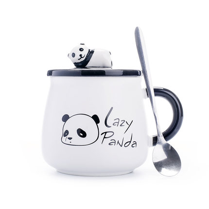 440ml Creative Cartoon Panda Mug With lid spoon Cute Breakfast Milk Mug Large Capacity Couple Ceramic Mug Gift Free Shipping