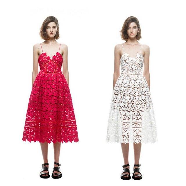 2016 Новый S * P Ручной Белый/Красный Sexy Глубокий V-образным Вырезом Цветка Шнурка Dress Взлетно-Посадочной Полосы Элегантный Платья Выдалбливают Long Dress Погонами