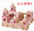 wooden 3D building model toy gift puzzle hand work assemble game woodcraft construction kit girl heart dream Princess Castle 1pc