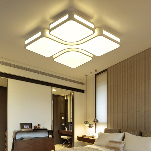 House Lighting Rooms Fixtures Rectangular Super Bright Bedroom Led Dimmable Ceiling Light Modern Lamp With Remote Control 2 4g