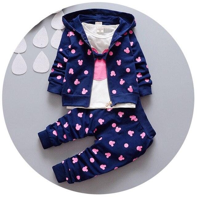 2016 Осень детская одежда девушки/мальчики дети минни микки девушки мальчиков детской одежды футболка + пальто + брюки 3 костюм roupa infantil одежда наборы
