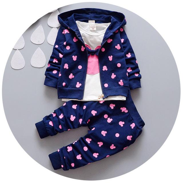 2016 Outono roupas de bebê menina/meninos crianças minnie mickey meninos meninas roupas t-shirt + casaco + calças 3 conjuntos de roupas terno roupa infantil