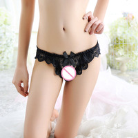 Sexy Women's Underwear Perspective Lace Temptation T-Back Panties Pearl Open File Exposed Hip Crotchless G String Sex Shop
