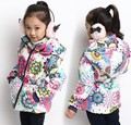 2014 new design winter baby girls jacket fashion children's long sleeve sun flower outwear high quality kids hooded coat 5pcs