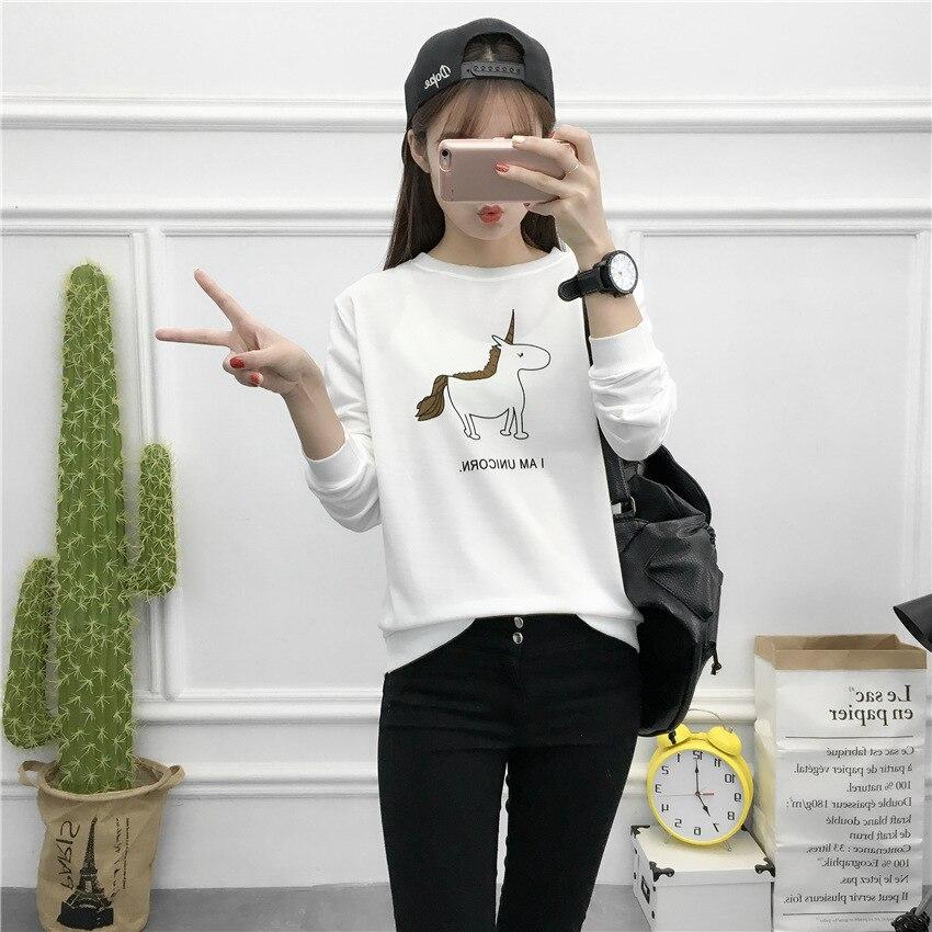 Korean clothes T shirt overcoat shirt big size cute cartoon print unicornio Horse women long sleeve white color Casual T-shirts