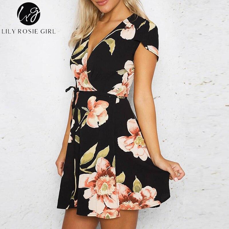 3a7b4c40d7914 US $23.98 |Lily Rosie Girl Deep V Neck Black Boho Floral Print Mini Dress  Women Summer Beach Sexy Loose Short Warp Dresses Vestidos-in Dresses from  ...