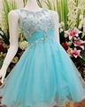 Blue Tulle Short Prom Party Dresses O Neck Sleeves Cut Out Back Appliques Crystal Mini Cocktail Party Dress