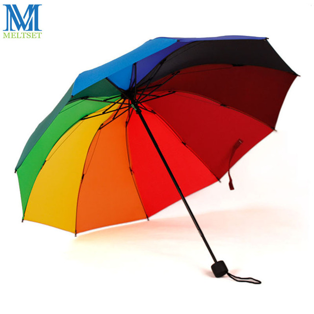 windproof foldable rainbow umbrella rain women large folding sun