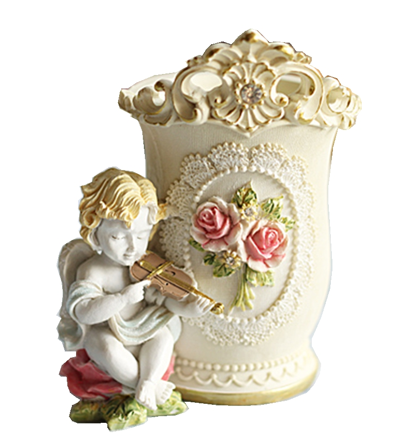 Creative Hand-painted Cute Angel Storage Barrel Retro Resin Crafts Home Decor Shooting Props Tourism Souvenir Birthday Gift