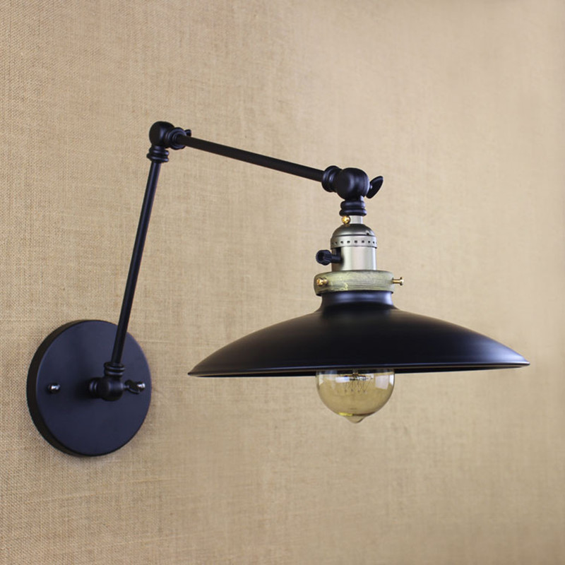 Industrial Simple Iron Cafe Wall Lamp Umbrella Decoration With Two Swing Arm Balcony Light Bar Decoration Light Free Shipping loft style american industrial creative iron vintage wall light with two swing mechanical arm balcony wall light free shipping