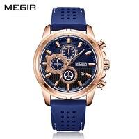 Megir Chronograph Uhr Männer Sport Wasserdicht herren Uhr Analog Top Luxus Marke Uhren Männer 30m Wasserdichte Silikon Band-in Quarz-Uhren aus Uhren bei