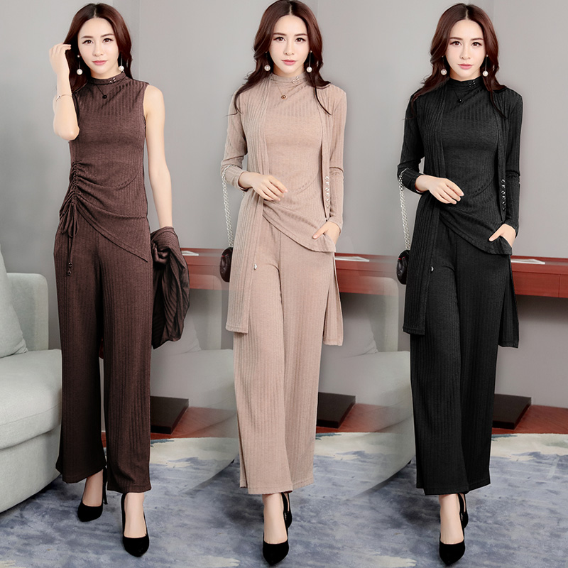 Autumn Knitted Suits For Women Wide Lege Pants And Long Cardigan Coat And Vest Pullover Tops 3 Piece Set Women Plus Size Clothes